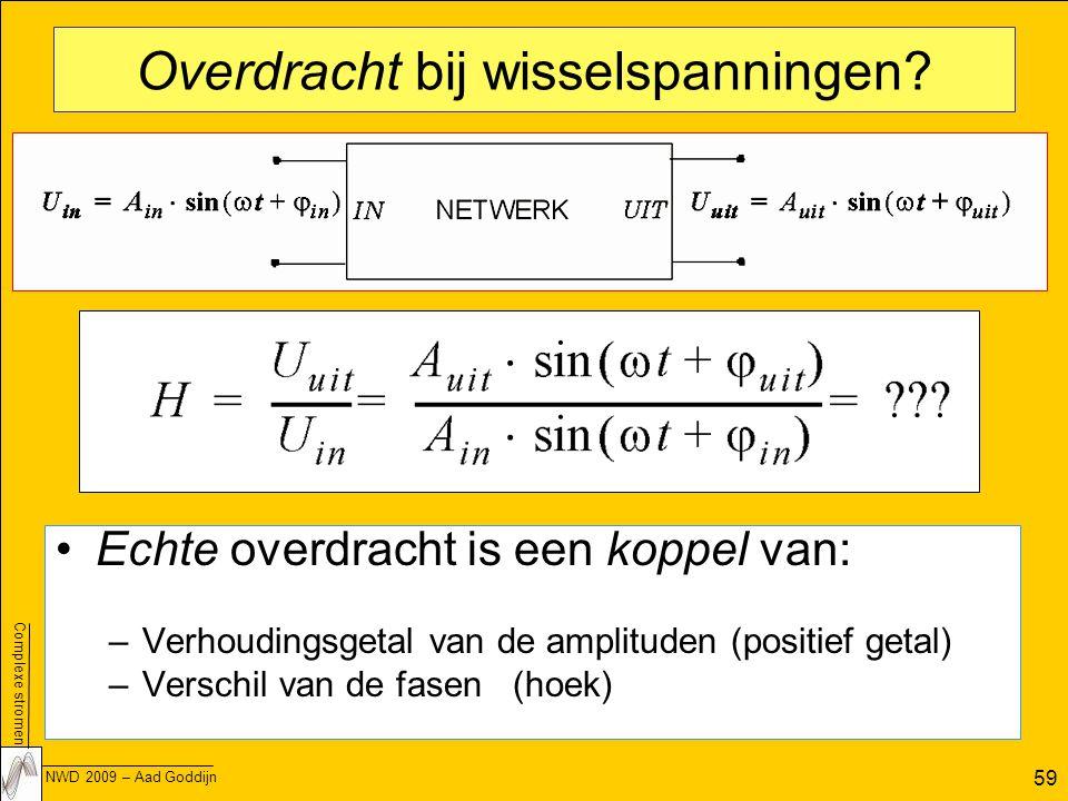 Complexe stromen NWD 2009 – Aad Goddijn 59 Overdracht bij wisselspanningen.
