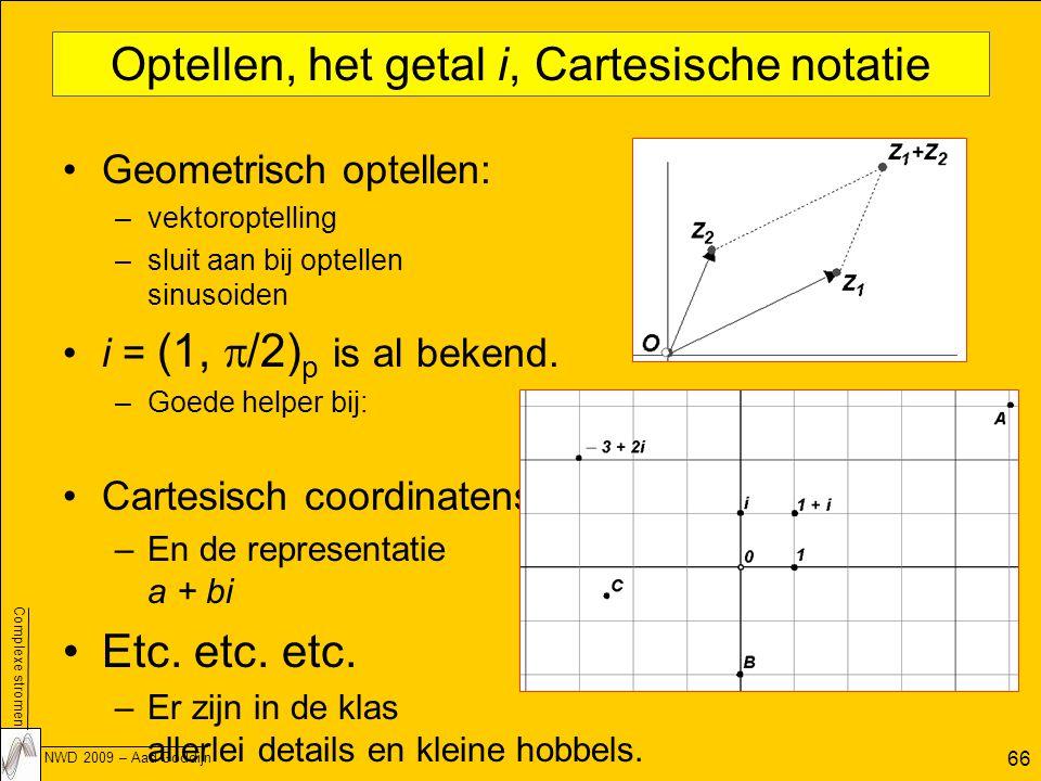 Complexe stromen NWD 2009 – Aad Goddijn 66 Optellen, het getal i, Cartesische notatie Geometrisch optellen: –vektoroptelling –sluit aan bij optellen sinusoiden i = (1,  /2) p is al bekend.