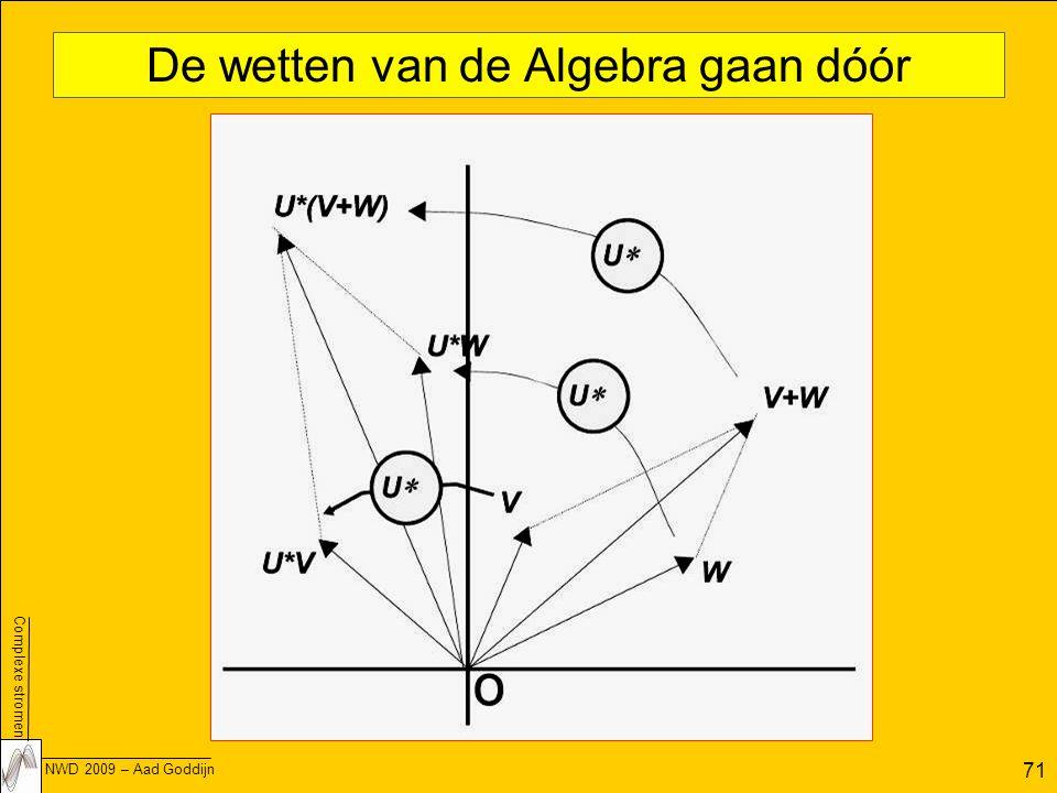 Complexe stromen NWD 2009 – Aad Goddijn 71 De wetten van de Algebra gaan dóór