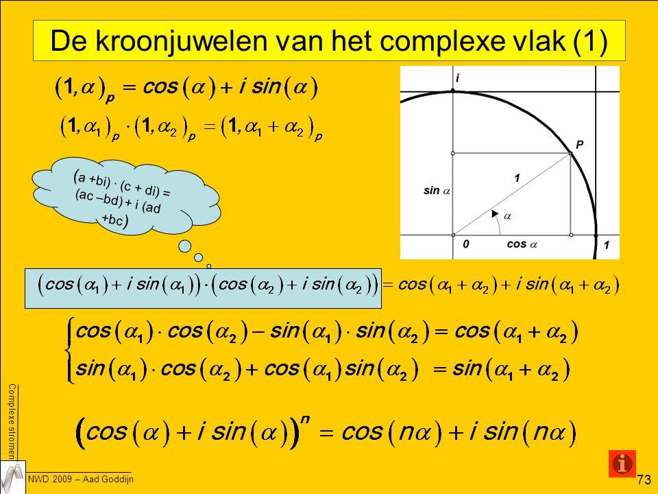 Complexe stromen NWD 2009 – Aad Goddijn 73 De kroonjuwelen van het complexe vlak (1) ( a +bi) · (c + di) = (ac –bd) + i (ad +bc )