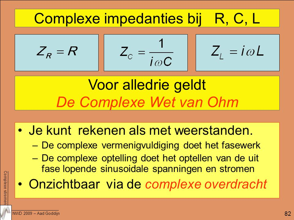 Complexe stromen NWD 2009 – Aad Goddijn 82 Complexe impedanties bij R, C, L Je kunt rekenen als met weerstanden.