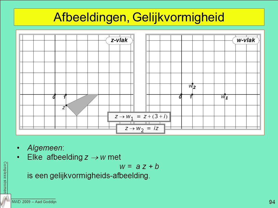 Complexe stromen NWD 2009 – Aad Goddijn 94 Afbeeldingen, Gelijkvormigheid Algemeen: Elke afbeelding z  w met w = a z + b is een gelijkvormigheids-afbeelding.