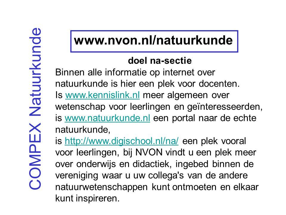 COMPEX Natuurkunde doel na-sectie Binnen alle informatie op internet over natuurkunde is hier een plek voor docenten.