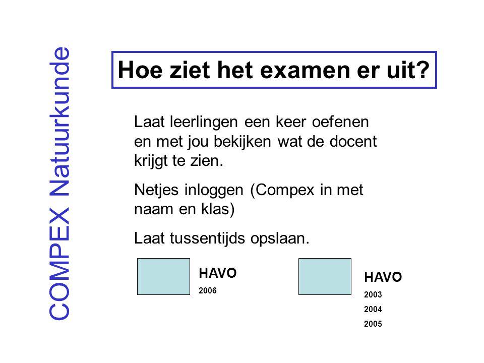 COMPEX Natuurkunde Hoe ziet het examen er uit.