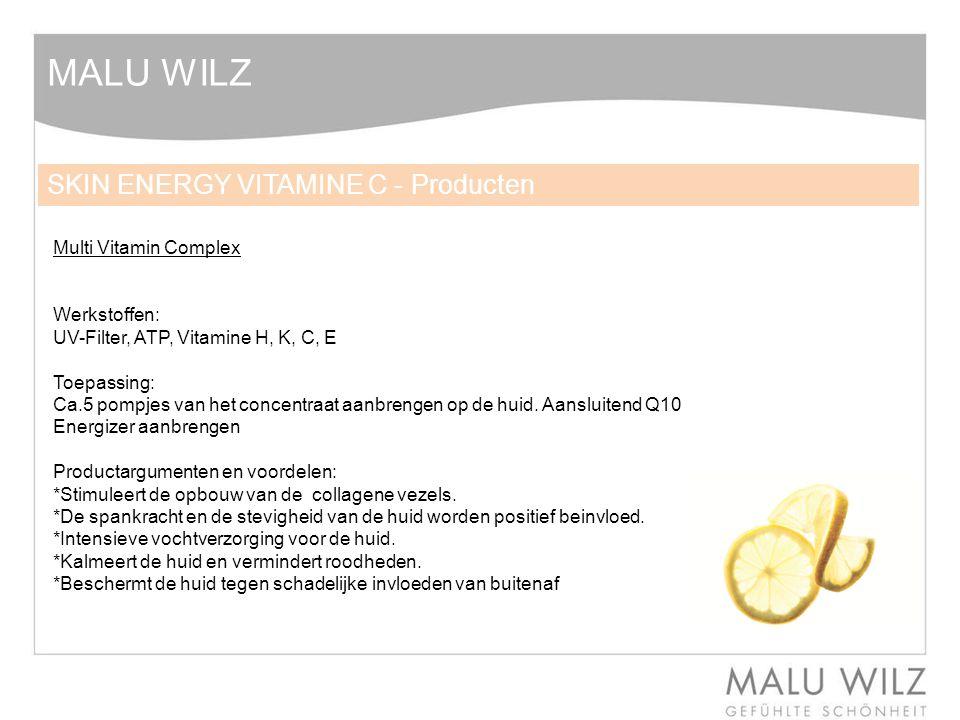 MALU WILZ Multi Vitamin Complex Werkstoffen: UV-Filter, ATP, Vitamine H, K, C, E Toepassing: Ca.5 pompjes van het concentraat aanbrengen op de huid.