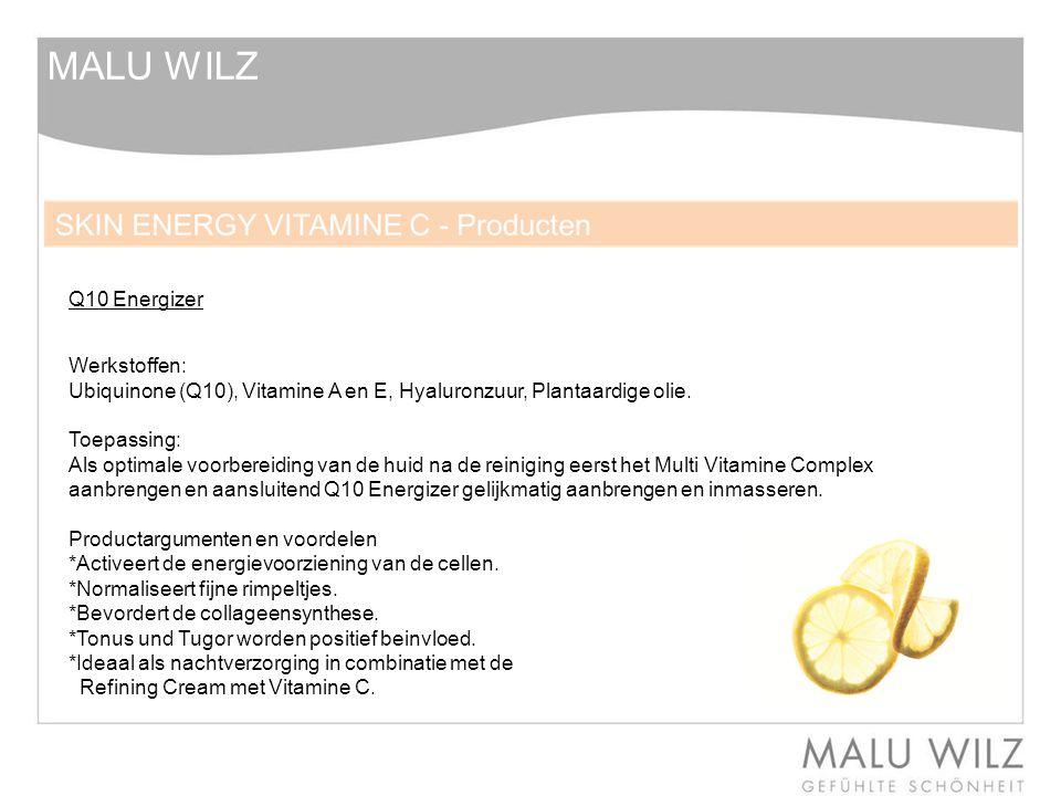 MALU WILZ Werkstoffen: Ubiquinone (Q10), Vitamine A en E, Hyaluronzuur, Plantaardige olie. Toepassing: Als optimale voorbereiding van de huid na de re