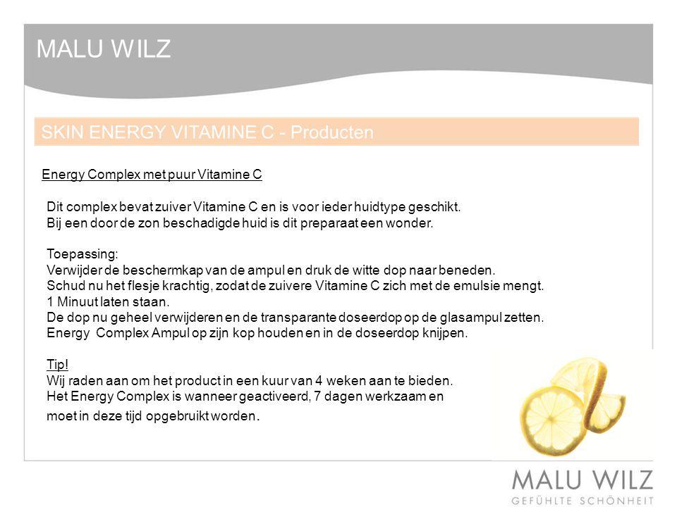 MALU WILZ Energy Complex met puur Vitamine C Dit complex bevat zuiver Vitamine C en is voor ieder huidtype geschikt. Bij een door de zon beschadigde h