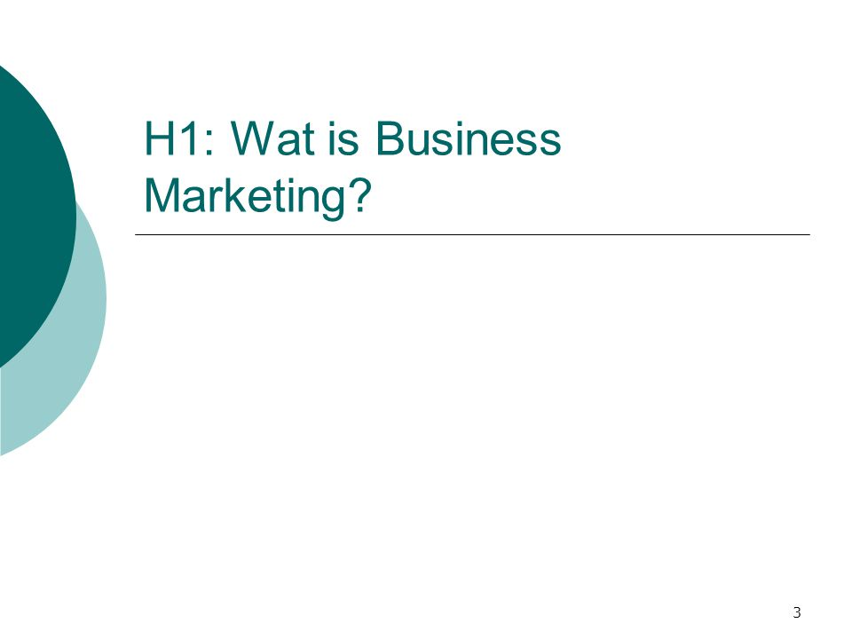 3 H1: Wat is Business Marketing?