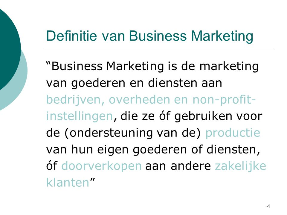 5 Definitie van Business Marketing