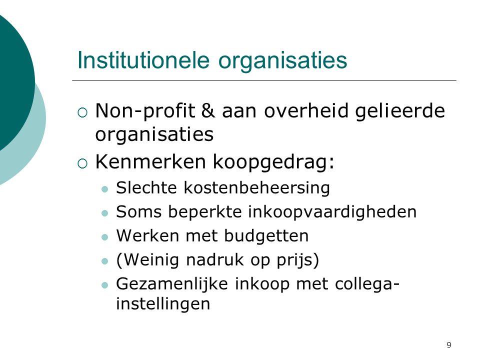 9 Institutionele organisaties  Non-profit & aan overheid gelieerde organisaties  Kenmerken koopgedrag: Slechte kostenbeheersing Soms beperkte inkoop
