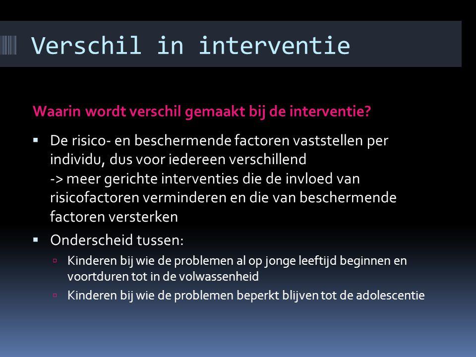 Verschil in interventie Waarin wordt verschil gemaakt bij de interventie.