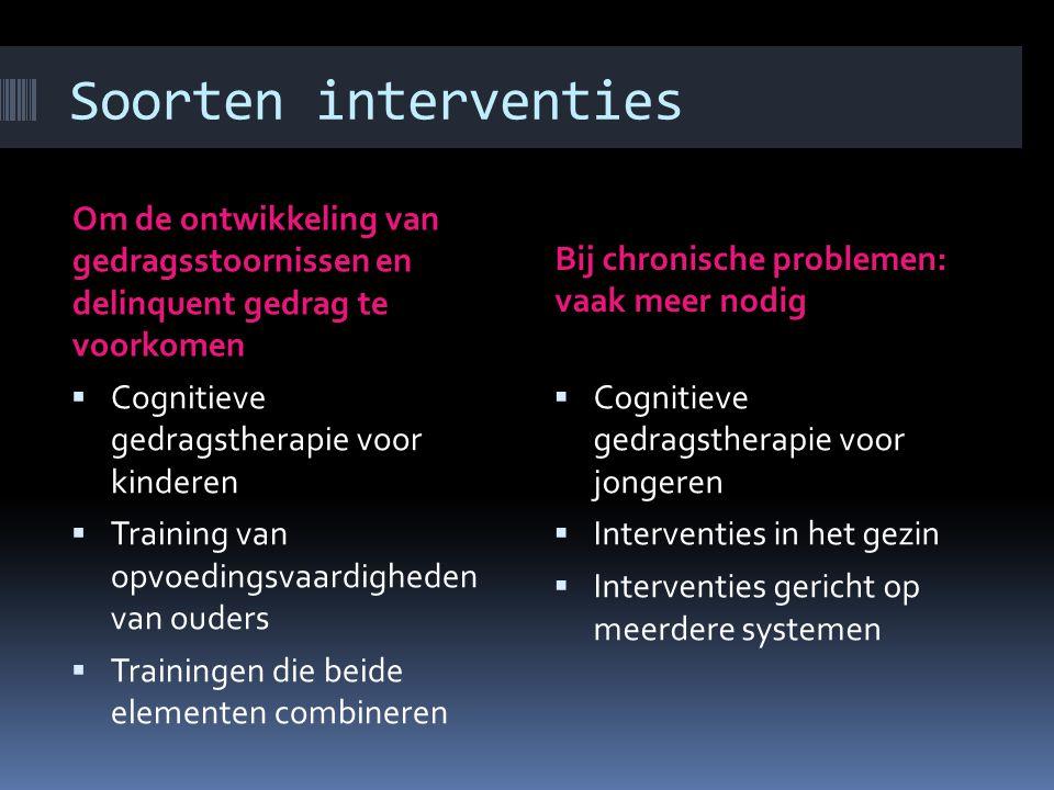 Verschil in interventie Waarin wordt verschil gemaakt bij de interventie?  De risico- en beschermende factoren vaststellen per individu, dus voor ied