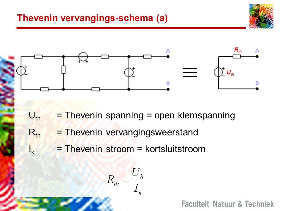 Thevenin vervangings-schema (a) U th R th U th = Thevenin spanning = open klemspanning R th = Thevenin vervangingsweerstand I k = Thevenin stroom = kortsluitstroom