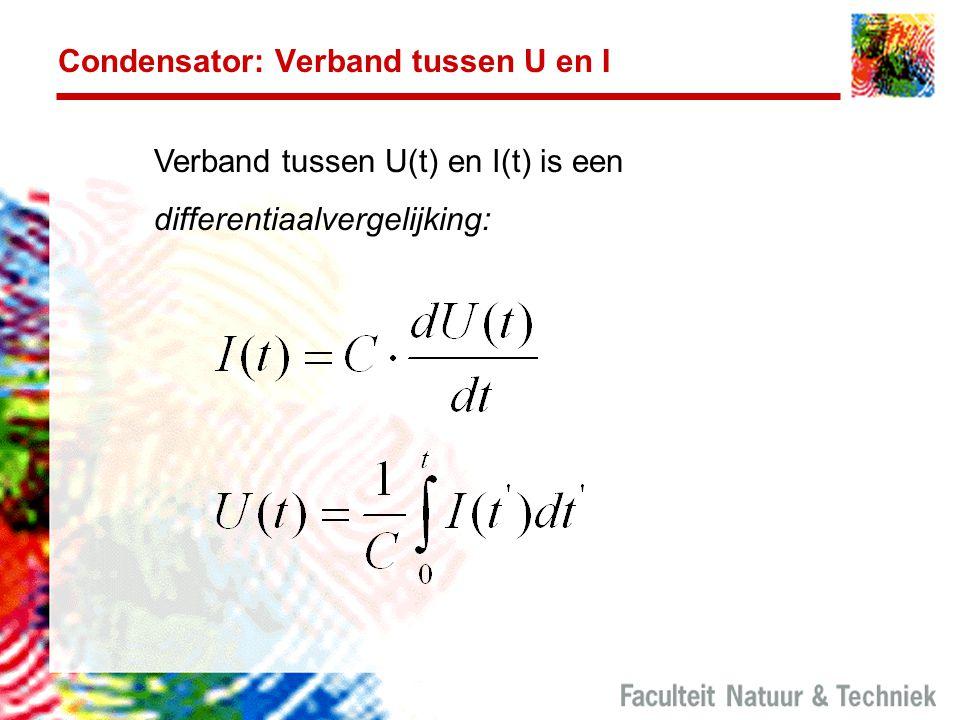Condensator: Verband tussen U en I Verband tussen U(t) en I(t) is een differentiaalvergelijking: