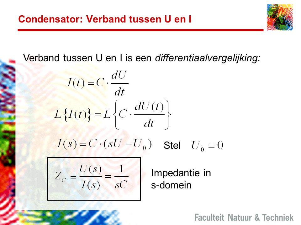 Condensator: Verband tussen U en I Verband tussen U en I is een differentiaalvergelijking: Stel Impedantie in s-domein