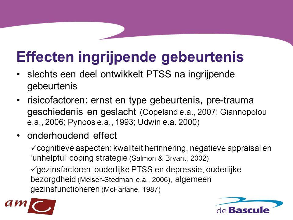 Effecten ingrijpende gebeurtenis slechts een deel ontwikkelt PTSS na ingrijpende gebeurtenis risicofactoren: ernst en type gebeurtenis, pre-trauma ges
