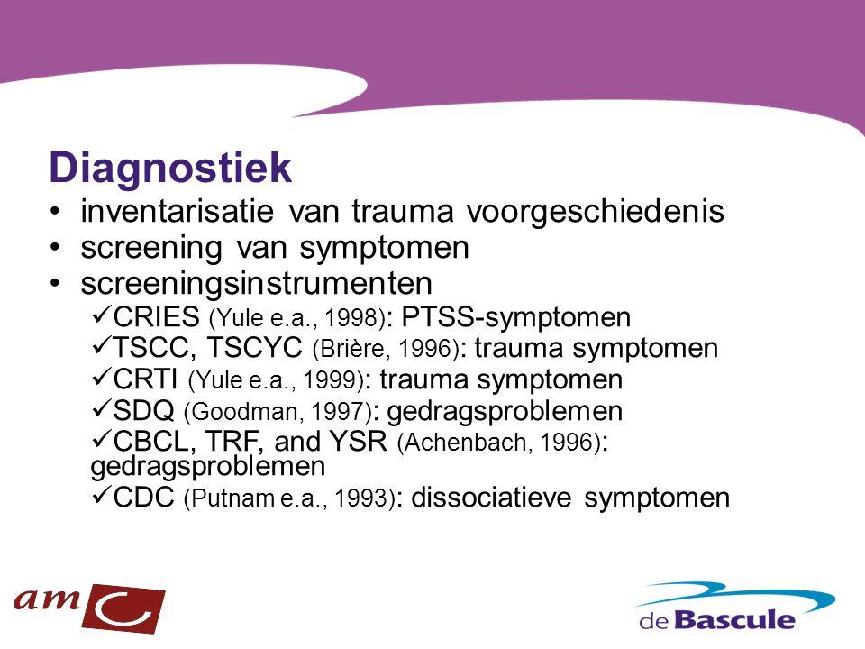 Diagnostiek inventarisatie van trauma voorgeschiedenis screening van symptomen screeningsinstrumenten CRIES (Yule e.a., 1998) : PTSS-symptomen TSCC, T