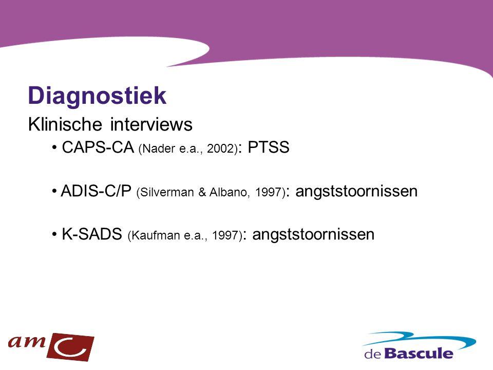 Diagnostiek Klinische interviews CAPS-CA (Nader e.a., 2002) : PTSS ADIS-C/P (Silverman & Albano, 1997) : angststoornissen K-SADS (Kaufman e.a., 1997)