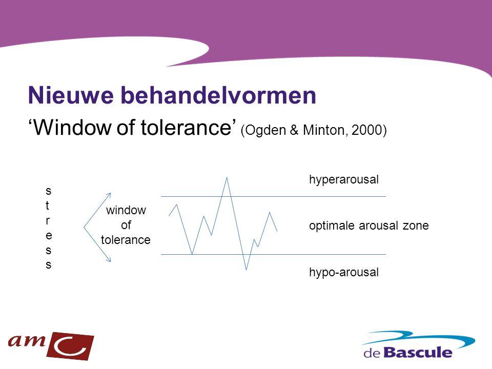 Nieuwe behandelvormen 'Window of tolerance' (Ogden & Minton, 2000) hyperarousal optimale arousal zone hypo-arousal window of tolerance stressstress