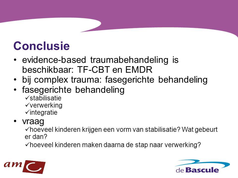 Conclusie evidence-based traumabehandeling is beschikbaar: TF-CBT en EMDR bij complex trauma: fasegerichte behandeling fasegerichte behandeling stabil