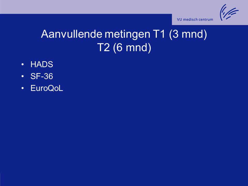 Aanvullende metingen T1 (3 mnd) T2 (6 mnd) HADS SF-36 EuroQoL