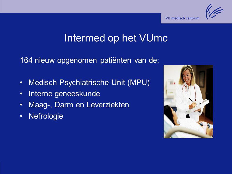 Intermed op het VUmc 164 nieuw opgenomen patiënten van de: Medisch Psychiatrische Unit (MPU) Interne geneeskunde Maag-, Darm en Leverziekten Nefrologi