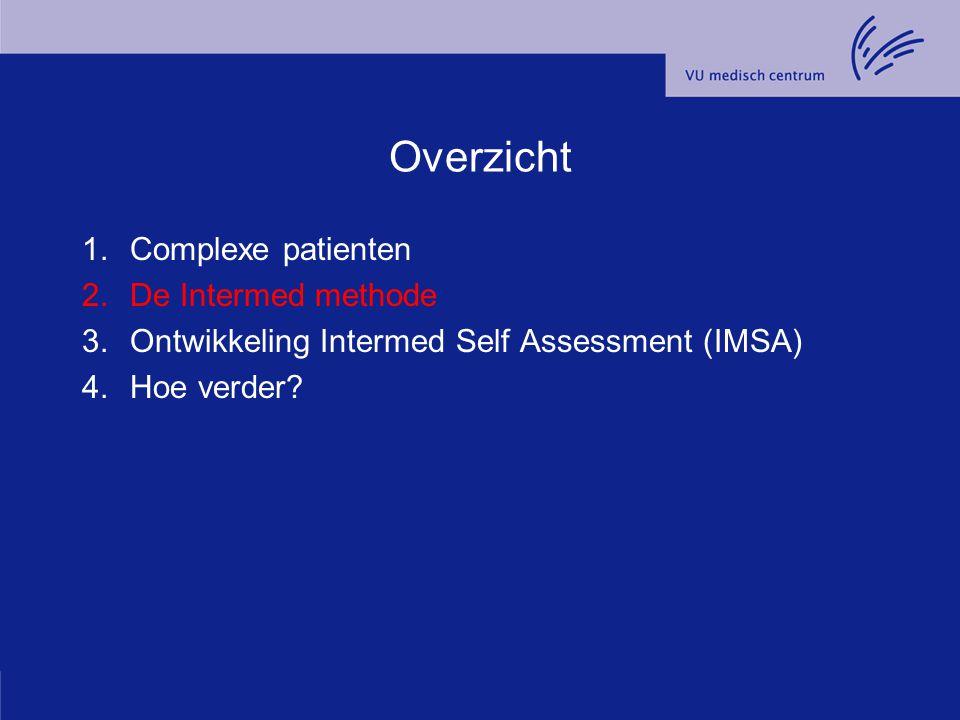 Overzicht 1.Complexe patienten 2.De Intermed methode 3.Ontwikkeling Intermed Self Assessment (IMSA) 4.Hoe verder?