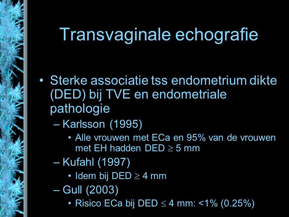 Transvaginale echografie Sterke associatie tss endometrium dikte (DED) bij TVE en endometriale pathologie –Karlsson (1995) Alle vrouwen met ECa en 95%