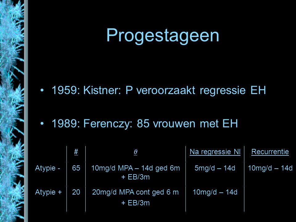 Progestageen 1959: Kistner: P veroorzaakt regressie EH 1989: Ferenczy: 85 vrouwen met EH  Na regressie NlRecurrentie Atypie -6510mg/d MPA – 14d ged