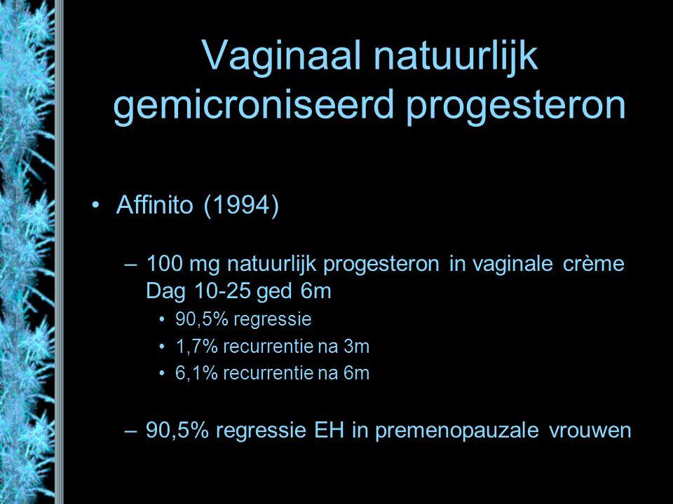 Vaginaal natuurlijk gemicroniseerd progesteron Affinito (1994) –100 mg natuurlijk progesteron in vaginale crème Dag 10-25 ged 6m 90,5% regressie 1,7%