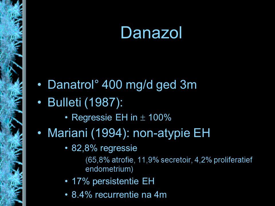 Danazol Danatrol° 400 mg/d ged 3m Bulleti (1987): Regressie EH in  100% Mariani (1994): non-atypie EH 82,8% regressie (65,8% atrofie, 11,9% secretoir