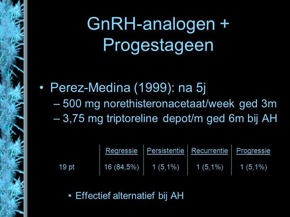 GnRH-analogen + Progestageen Perez-Medina (1999): na 5j –500 mg norethisteronacetaat/week ged 3m –3,75 mg triptoreline depot/m ged 6m bij AH Effectief