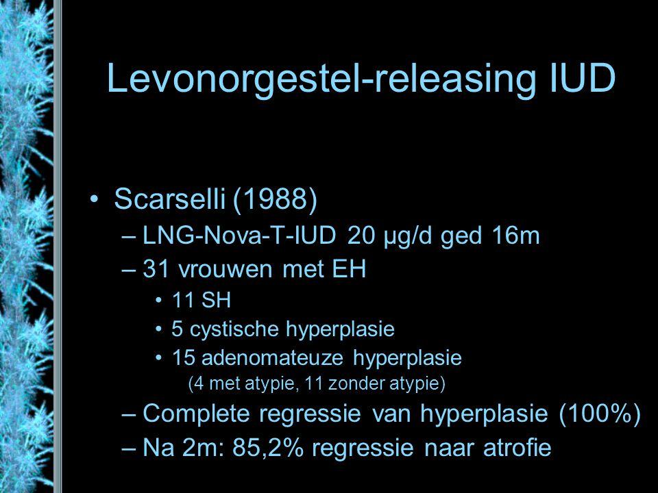 Levonorgestel-releasing IUD Scarselli (1988) –LNG-Nova-T-IUD 20 µg/d ged 16m –31 vrouwen met EH 11 SH 5 cystische hyperplasie 15 adenomateuze hyperpla