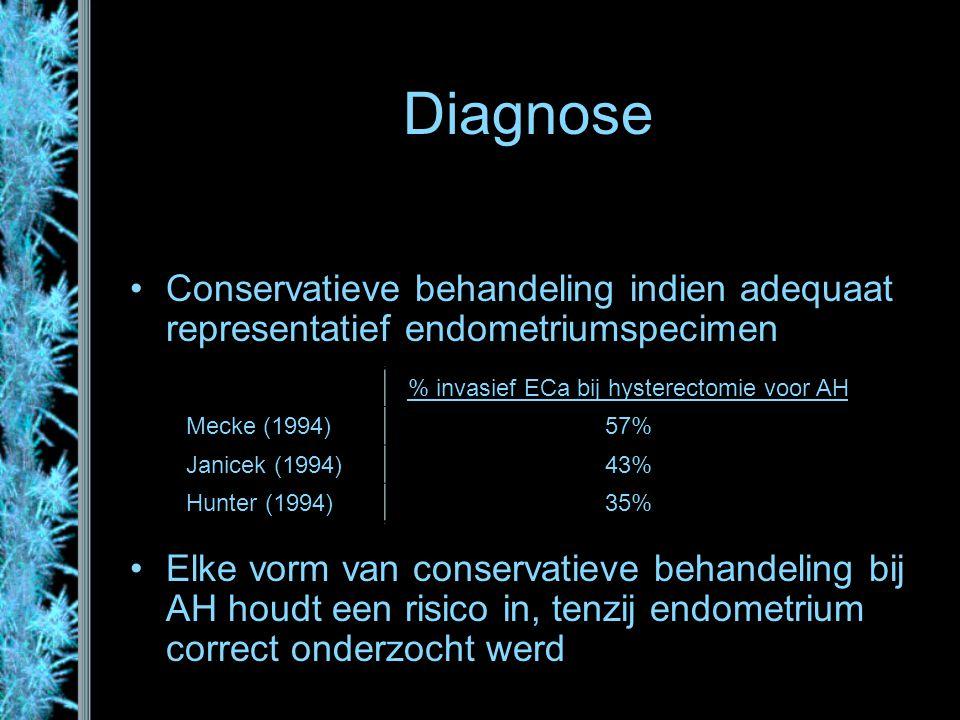 Diagnose Conservatieve behandeling indien adequaat representatief endometriumspecimen Elke vorm van conservatieve behandeling bij AH houdt een risico