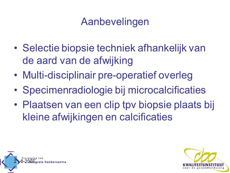 21-6-2007 Aanbevelingen Selectie biopsie techniek afhankelijk van de aard van de afwijking Multi-disciplinair pre-operatief overleg Specimenradiologie bij microcalcificaties Plaatsen van een clip tpv biopsie plaats bij kleine afwijkingen en calcificaties