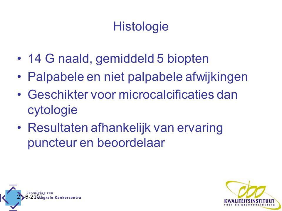 21-6-2007 Histologie 14 G naald, gemiddeld 5 biopten Palpabele en niet palpabele afwijkingen Geschikter voor microcalcificaties dan cytologie Resultaten afhankelijk van ervaring puncteur en beoordelaar