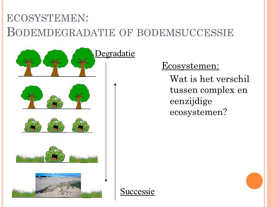 B ODEMDEGRADATIE OF BODEMSUCCESSIE 2 Complex ecosysteem: Stabiel evenwicht (v/d natuur) met een zeer hoge diversiteit aan planten- en diersoorten Eenzijdig ecosysteem: Stabiel evenwicht (v/d natuur) met een lage diversiteit aan planten- en diersoorten Wanneer spreek je van een grote of kleine diversiteit.