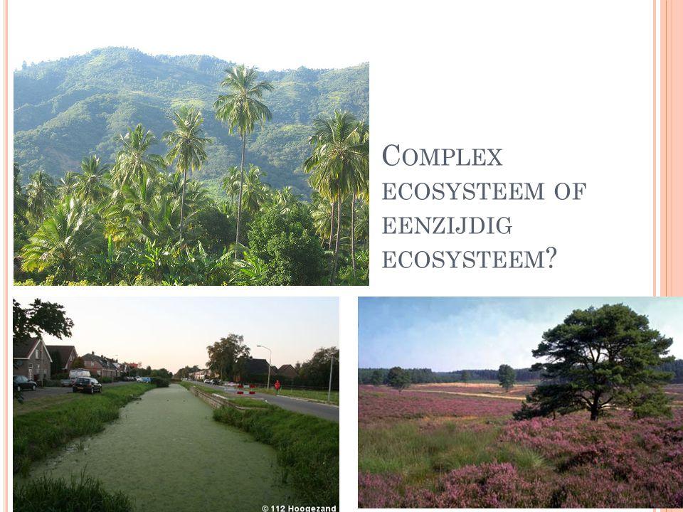 ECOSYSTEMEN : B ODEMDEGRADATIE OF BODEMSUCCESSIE Complex ecosystemen = Veel diversiteit Eenzijdige ecosysteem = weinig diversiteit Successie Degradatie