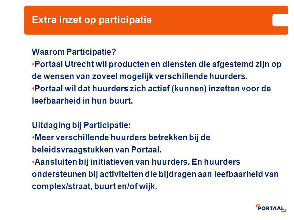 Extra inzet op participatie Waarom Participatie? Portaal Utrecht wil producten en diensten die afgestemd zijn op de wensen van zoveel mogelijk verschi