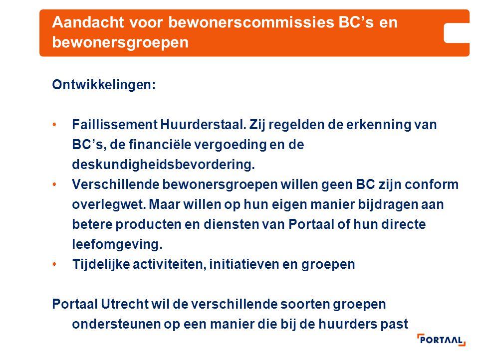 Aandacht voor bewonerscommissies BC's en bewonersgroepen Ontwikkelingen: Faillissement Huurderstaal. Zij regelden de erkenning van BC's, de financiële