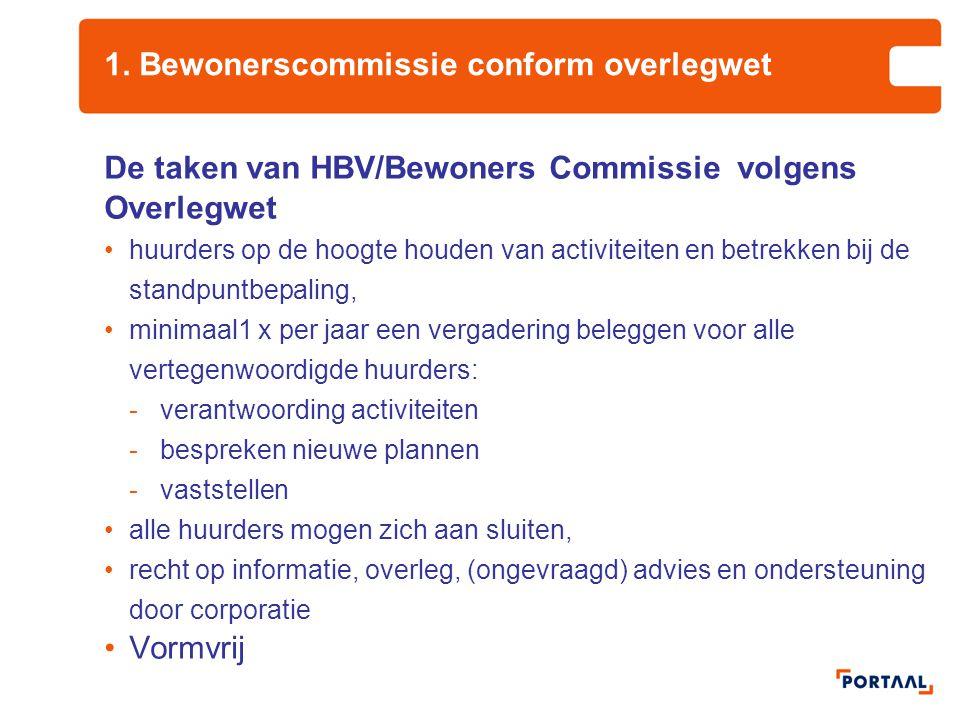 1. Bewonerscommissie conform overlegwet De taken van HBV/Bewoners Commissie volgens Overlegwet huurders op de hoogte houden van activiteiten en betrek