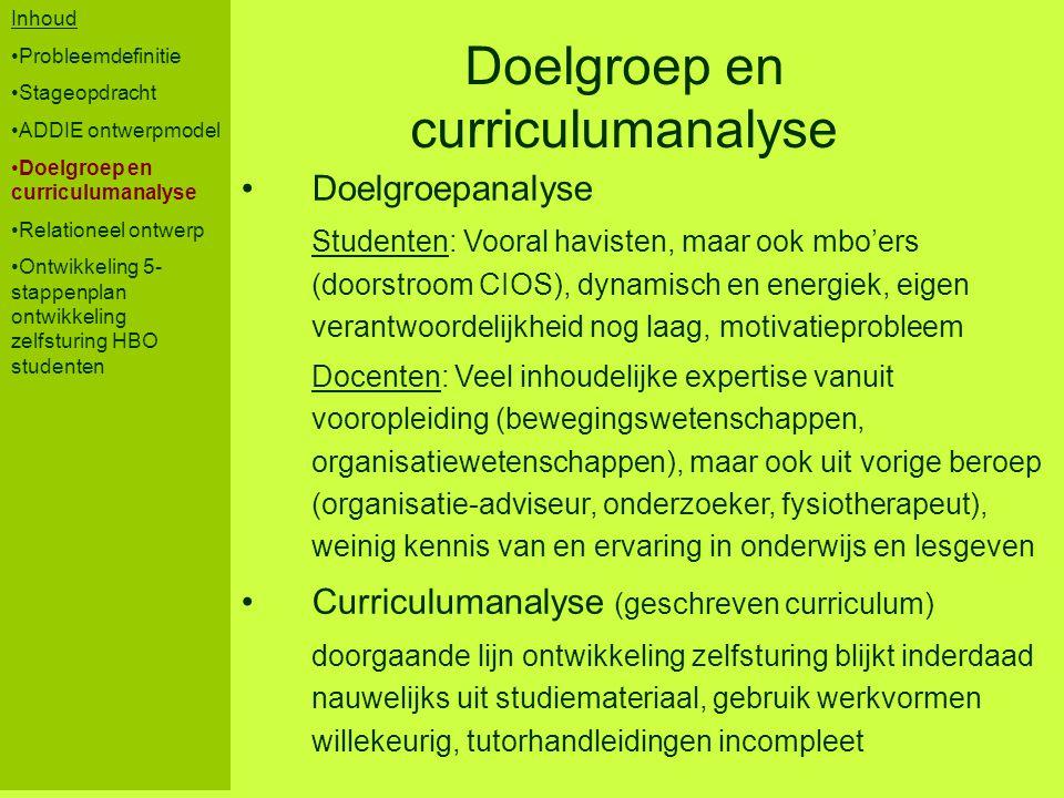 Inhoud Probleemdefinitie Stageopdracht ADDIE ontwerpmodel Doelgroep en curriculumanalyse Relationeel ontwerp Ontwikkeling 5- stappenplan ontwikkeling