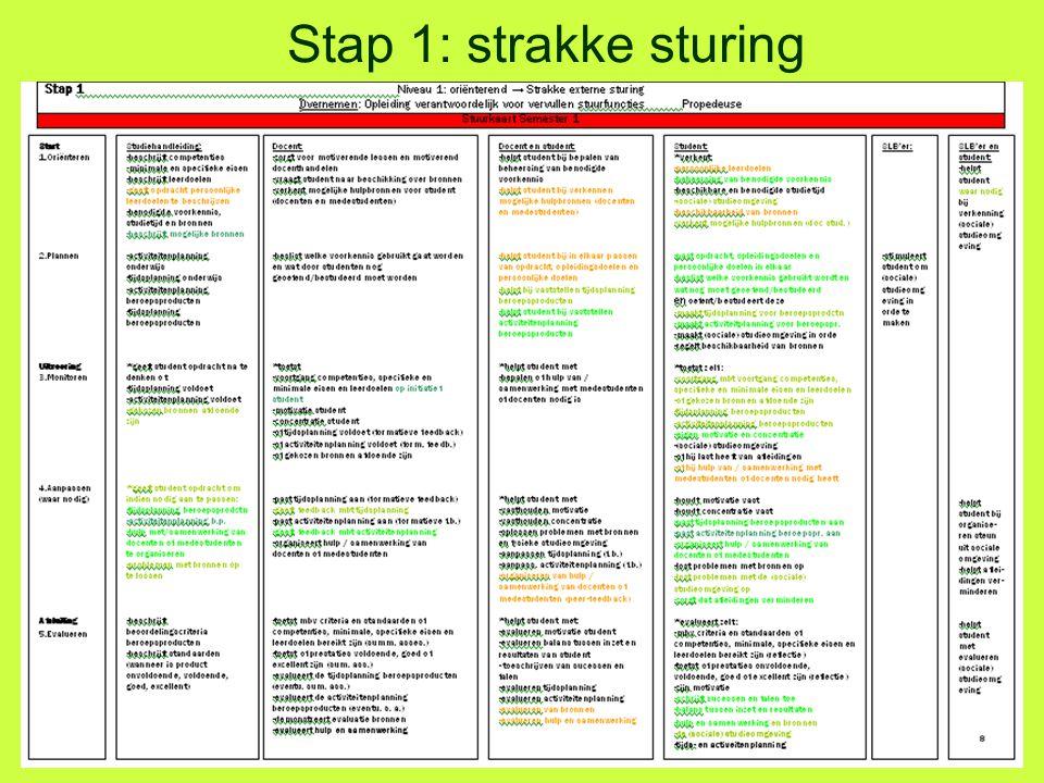Stap 1: strakke sturing