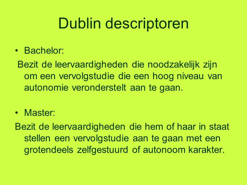 Dublin descriptoren Bachelor: Bezit de leervaardigheden die noodzakelijk zijn om een vervolgstudie die een hoog niveau van autonomie veronderstelt aan
