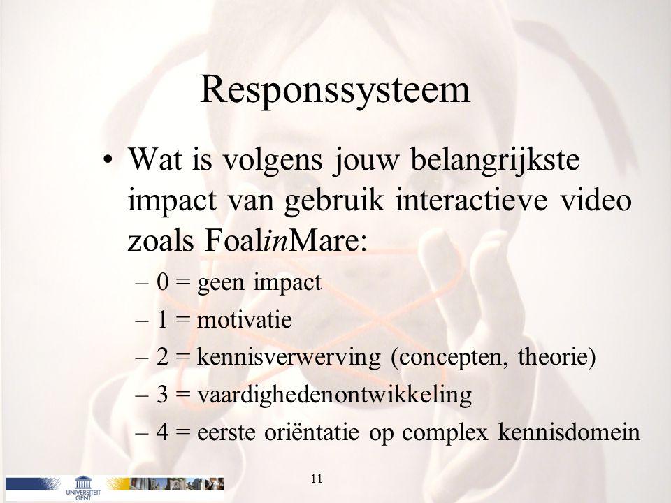 Responssysteem Wat is volgens jouw belangrijkste impact van gebruik interactieve video zoals FoalinMare: –0 = geen impact –1 = motivatie –2 = kennisverwerving (concepten, theorie) –3 = vaardighedenontwikkeling –4 = eerste oriëntatie op complex kennisdomein 11