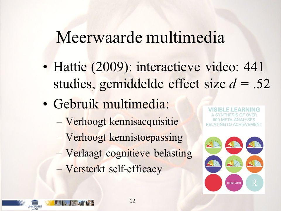 Meerwaarde multimedia Hattie (2009): interactieve video: 441 studies, gemiddelde effect size d =.52 Gebruik multimedia: –Verhoogt kennisacquisitie –Verhoogt kennistoepassing –Verlaagt cognitieve belasting –Versterkt self-efficacy 12