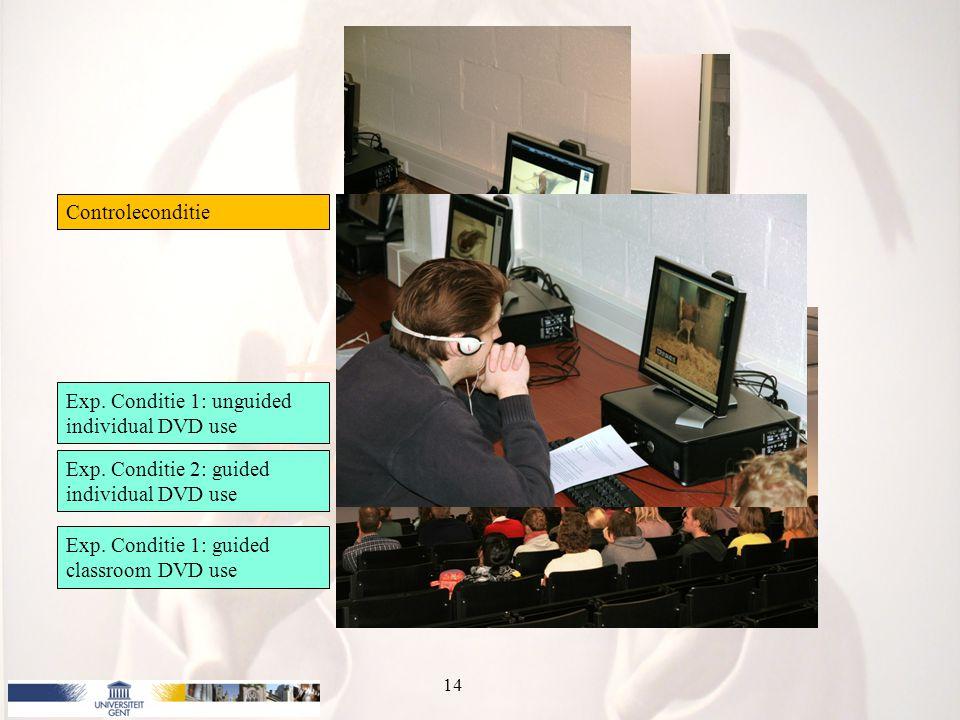 Onderzoek 14 Controleconditie Exp. Conditie 1: unguided individual DVD use Exp. Conditie 2: guided individual DVD use Exp. Conditie 1: guided classroo