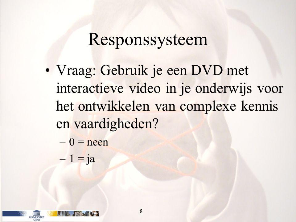 Responssysteem Vraag: Gebruik je een DVD met interactieve video in je onderwijs voor het ontwikkelen van complexe kennis en vaardigheden? –0 = neen –1
