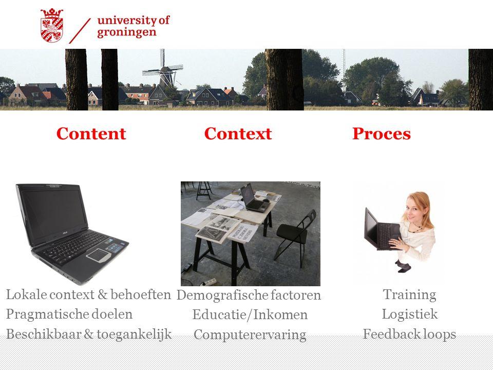 ContentContextProces 7/15/2014 | 11 Training Logistiek Feedback loops Demografische factoren Educatie/Inkomen Computerervaring Lokale context & behoeften Pragmatische doelen Beschikbaar & toegankelijk