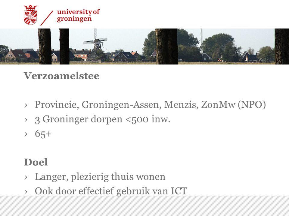 ›Provincie, Groningen-Assen, Menzis, ZonMw (NPO) ›3 Groninger dorpen <500 inw. ›65+ Doel ›Langer, plezierig thuis wonen ›Ook door effectief gebruik va